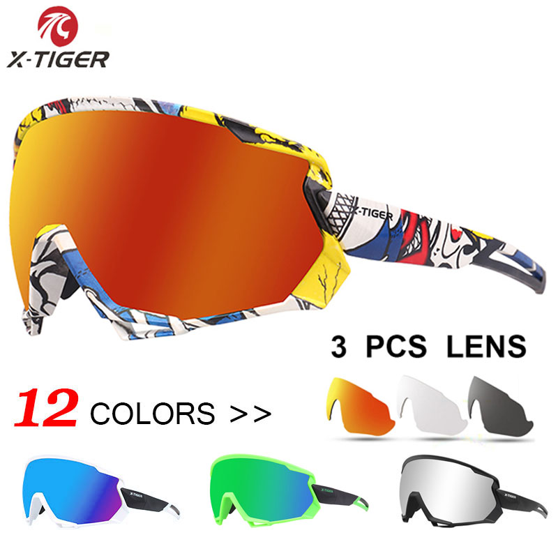 X-TIGER Polarized Sports Glasses Men's Cycling Glasses MTB Road Bicycle Glasses Mountain Bike Sunglasses Goggles Cycling Eyewear