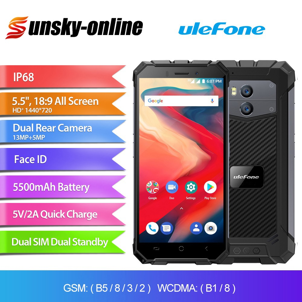 Ulefone Armor X2 Rugged Smartphone 5.5 inch NFC Dual Back Cameras 5500mAh 2GB+16GB, EU Version IP68 3G Mobile Phone-in Cellphones from Cellphones & Telecommunications    1