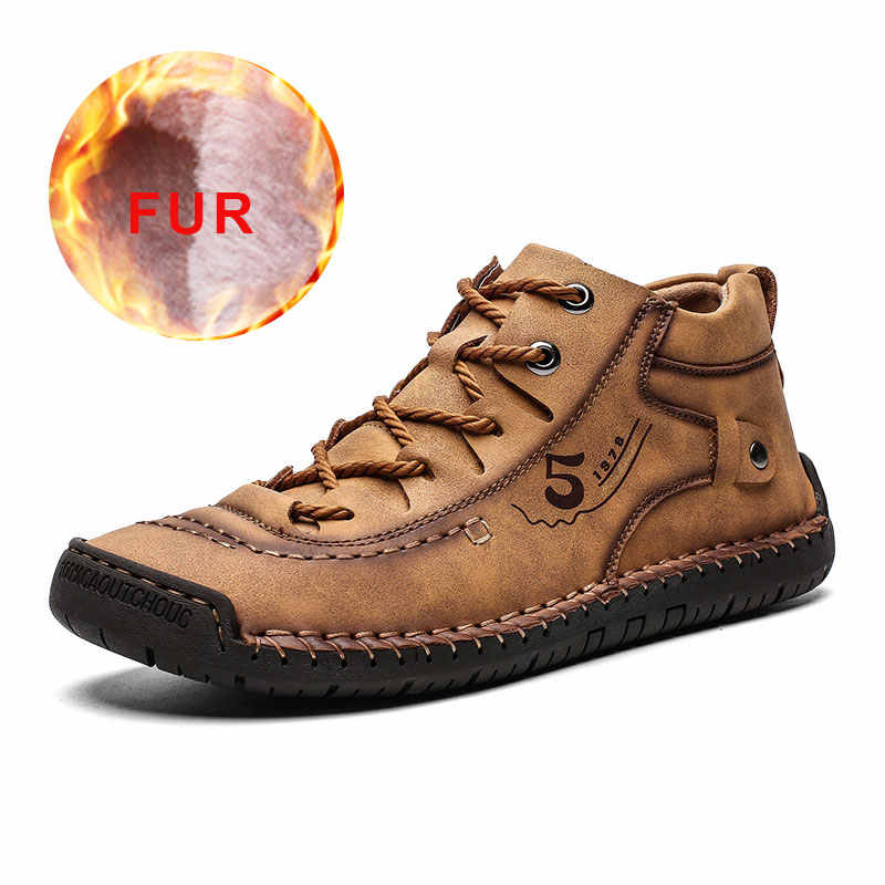 2019 Fashion Winter Heren Warm Bont Casual Heren Laarzen Split Leather Waterdichte Enkellaarsjes Lace-Up Rubber Outdoor big Size 48