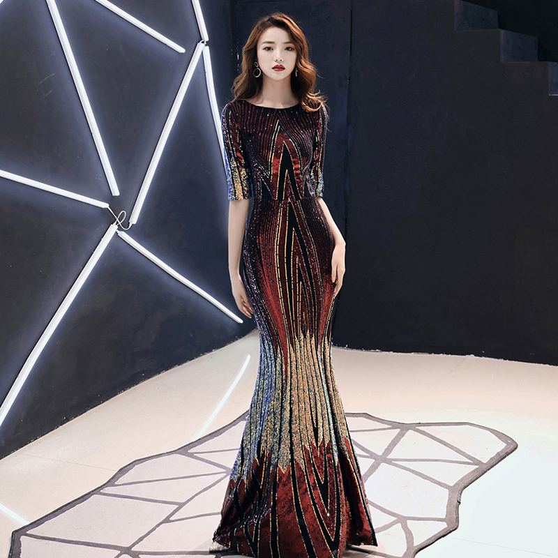 AE479 2019 New Evening Dress Long Sparkle Half Sleeve O-Neck Women Elegant Sequin Mermaid Maxi Evening Party Gown Dress