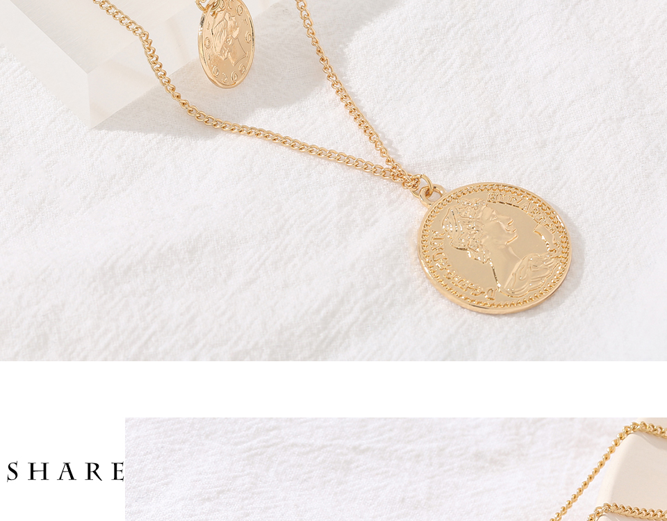H530b44baf1344028a3c245534b56b41a9 - Yhpup Vintage Retro Round Portrait Coin Pendant Necklace Statement Charm Ethnic multilaye Necklace For Female Punk Gold Gift