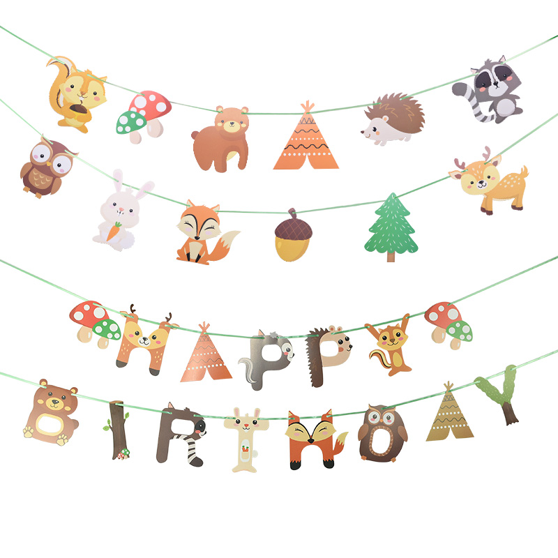1 Set Jungle Animal Flags Banner Paper Happy Birthday Party Decoration Nursery Bunting Garland Animal Zoo Theme Party Supplies-1