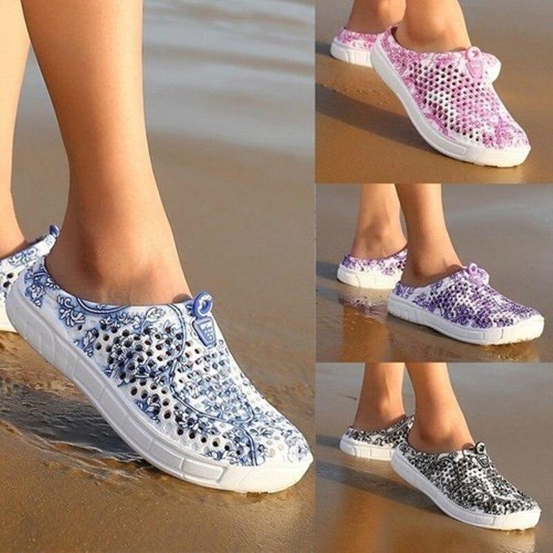 Women's Summer Garden Wooden Shoes Bathroom Slippers Slippery Breathable Beach Sandals