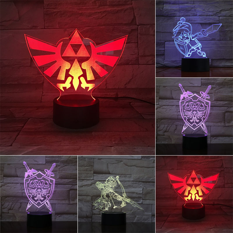 Triangle Zelda 3D LED Night Light 7 Color Changing Lamp Room Decoration Action Figure Toy For Birthday Christmas Gift