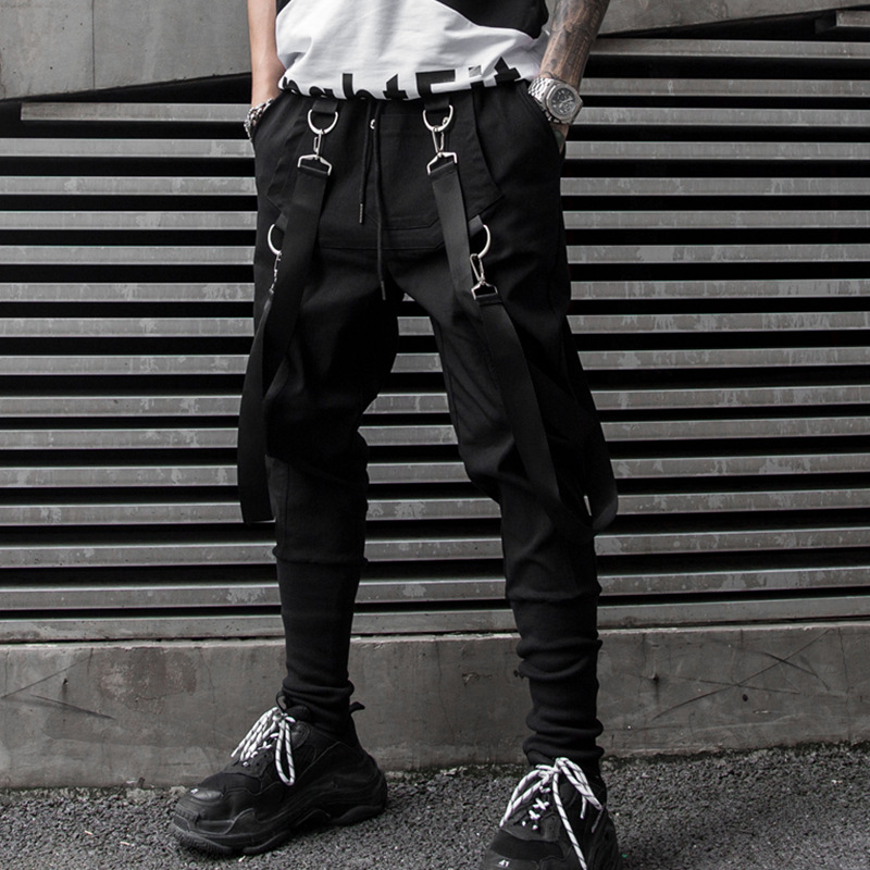 2019 Spring And Summer New Style Men National Trends Casual Skinny Dark Bib Overall Fashion Solid Color Evening Show Cone Casual