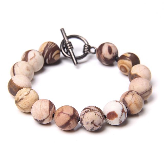 Taille 21-22cm Bracelet Homme//Femme perles /Ø8mm en pierre naturelle /Œil de Tigre Labradorite Gris Mat Agate//Onyx Anneaux Acier inoxydable fait Main cr/éation 1000ola BRALDIF-19