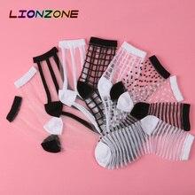 LIONZONE 10 זוגות\חבילה תחרה שקוף קריסטל נשים גרבי שונה סגנון קומפי Sheer משי Harajuku מצחיק גרבי Calcetines Mujer