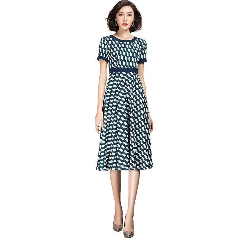 2021夏新カジュアルブルードレス半袖チェック柄のaライン女性のドレス