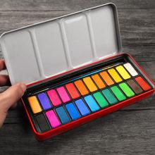 Профессиональные твердые акварельные краски с кисточкой, 12/18/24 цветов, портативный твердый акварельный пигмент для рисования