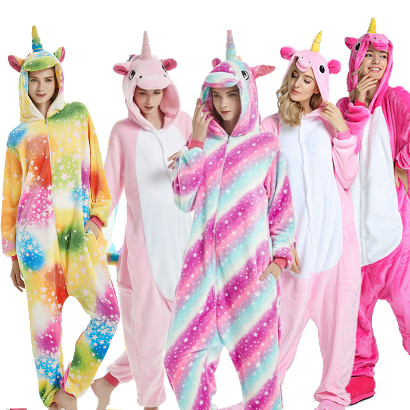2019 Winter Animal Pajamas Stitch Unicornio Sleepwear Pink Unicorn Sets Women Men Unisex Adult Flannel Panda Nightie