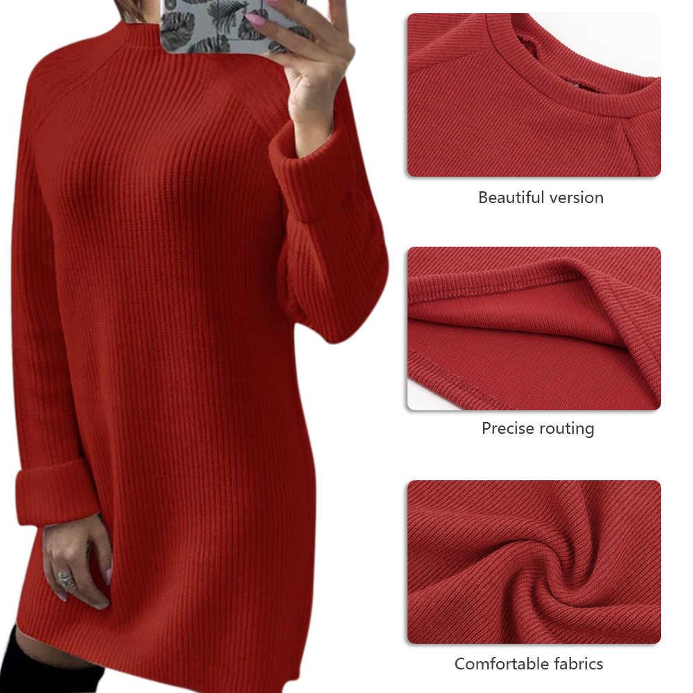 LASPERAL осенний однотонный вязаный хлопковый свитер платья женские модные свободные пуловер с круглым вырезом женское вязаное платье, платье Feminino