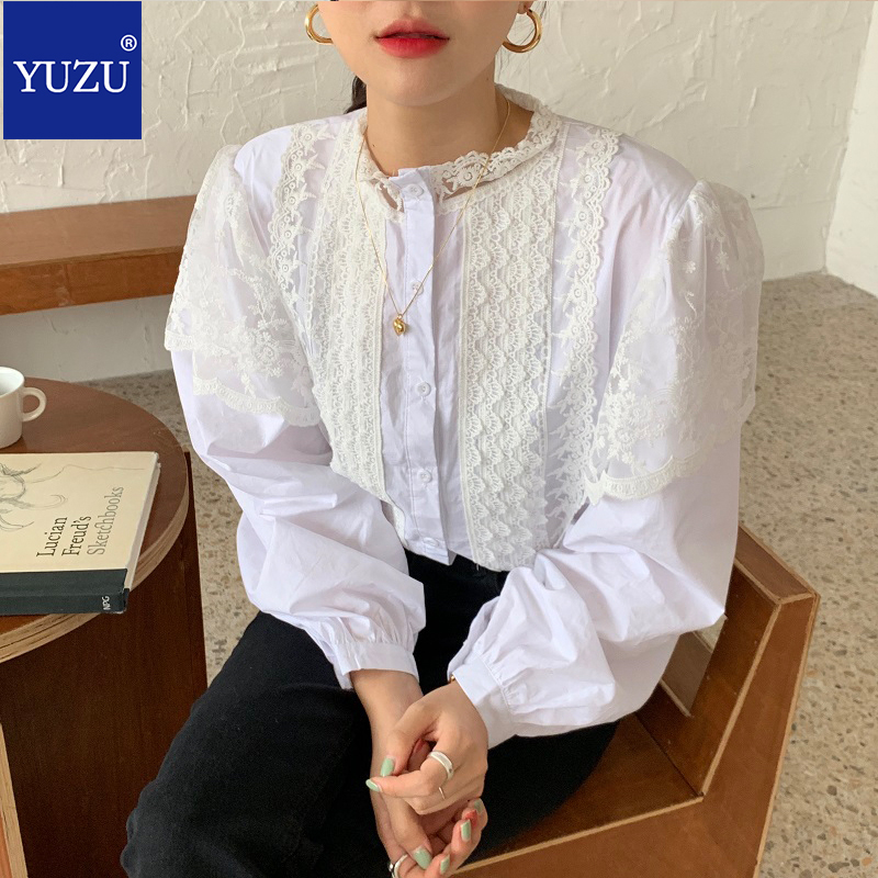 Women Sweet Tops Lace Puff Sleeve Embroidery White Button Up Shirt Casual Long Sleeve Stand Collar