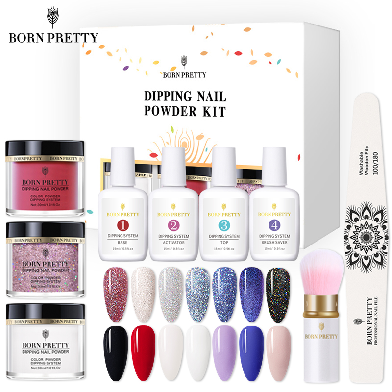 BORN PRETTY 30ml Dipping Nail Powder Set 3 IN 1 Acrylic Powder Extension Craving Dip With Base Activator Top System Liquid 9Pcs