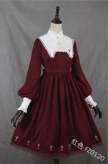 Купить средневековое готическое винтажное платье в стиле милой лолиты картинки цена