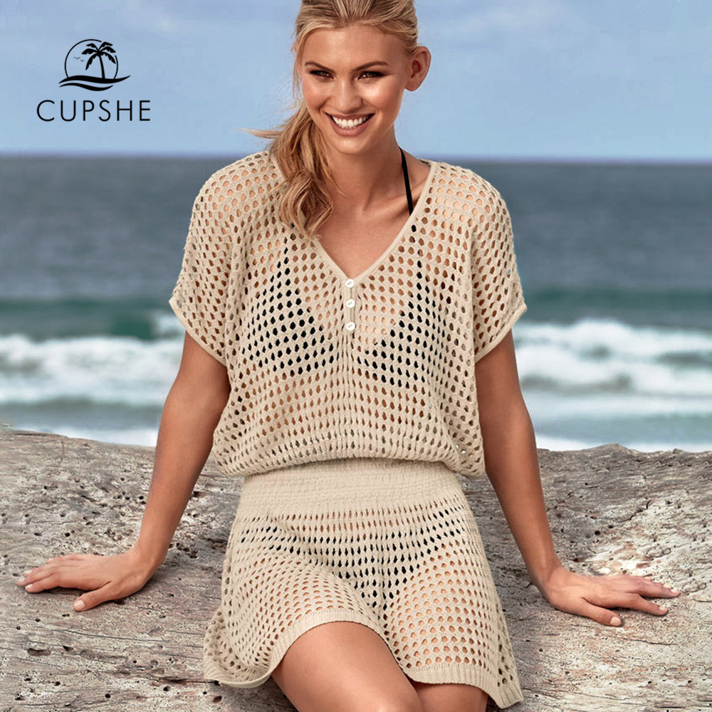 CUPSHE Ivory / Black Crochet Bikini Cover Up Women Sexy V-neck Mesh Cut Out See-through Tunic Beach Dress 2020 Summer Beachwear