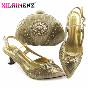 Image 3 - 2020 New Design Pointed Toe Sandals Italian Women Shoes and Bag to Match in Golden Color High Quality Nigerian Lady Party Shoes