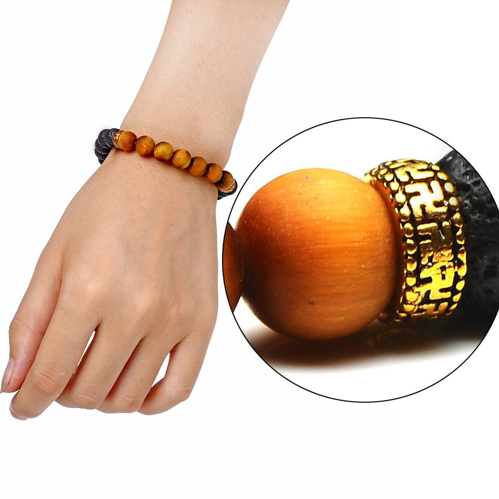 Mens Bracelets Bangles 2019 Women Stone Bracelets Beads Hand String Grit Tiger Eyes Stone Volcanic Stone Beads Bracelets Jewelry in Charm Bracelets from Jewelry Accessories