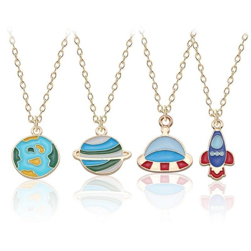 Trendy Blue Planet Halskette Erde Astronaut Anhänger Halsketten Raumschiff Rakete Männer Unisex Schmuck Gold Kette Kreative Andenken