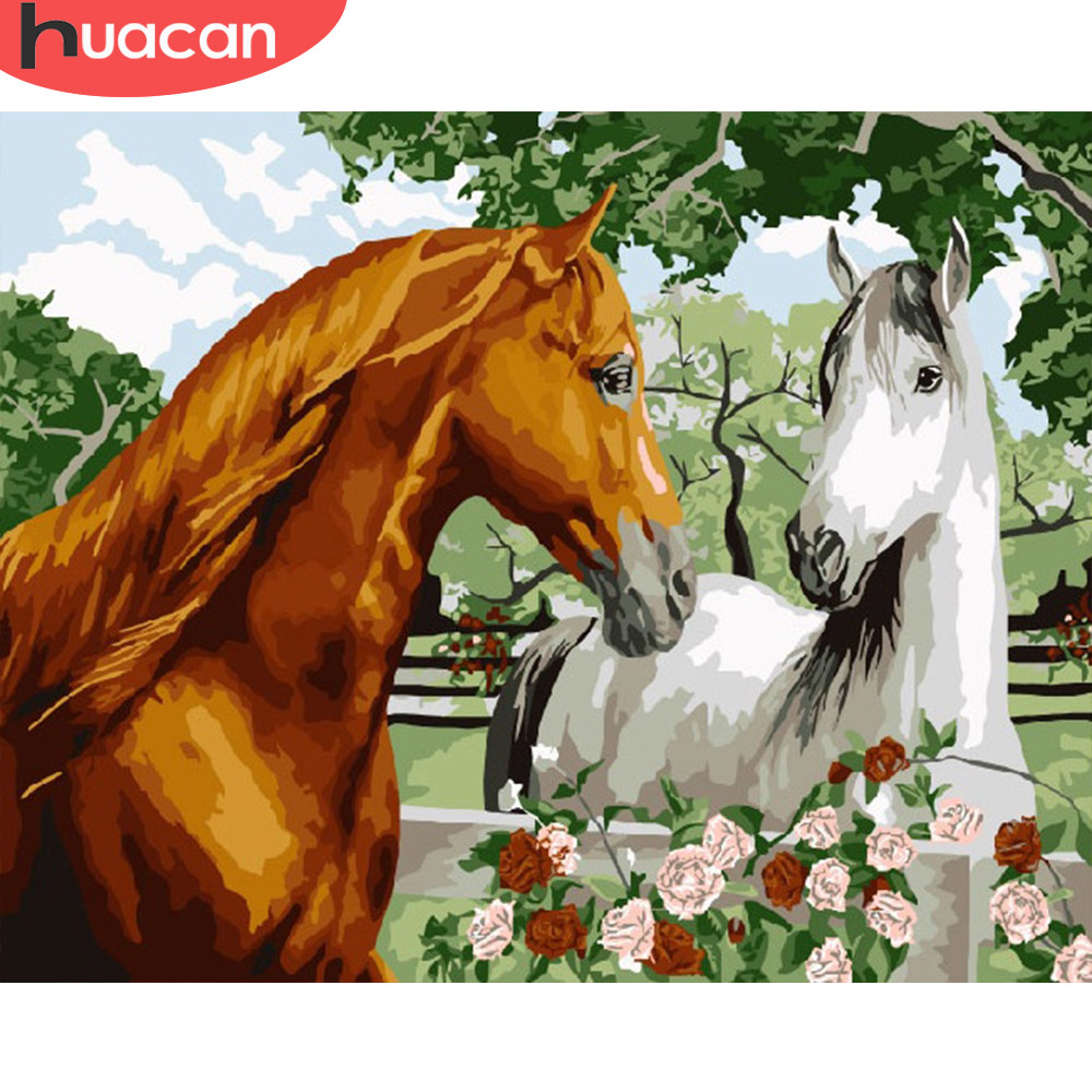 HUACAN Pictures By Number Horse Drawing On Canvas HandPainted Painting Art Gift DIY Coloring By Number Animal Kits Home Decor