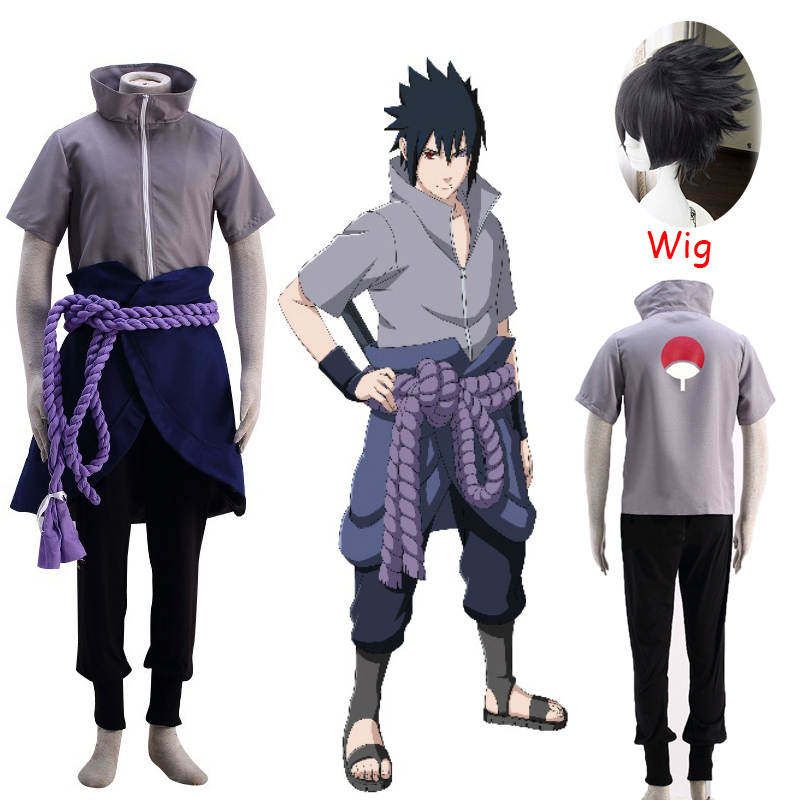 2020 Uchiha Sasuke Cosplay Costume Anime Naruto Shippuden Clothing Halloween Party (Blazer + Pants + Waist Rope + Hand Guard)