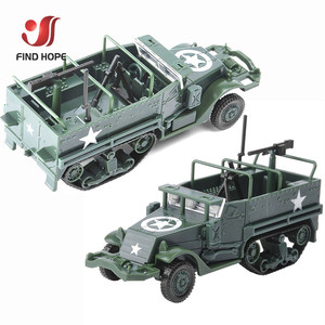 1:72 M3 Half-Track Military Armored Vehicle Assembly Model Toy Armored Carrier Car For Action Figure +10Pcs Soldiers Model