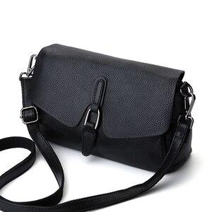 Image 3 - Bolsa de couro legítimo pendurado, bolsa feminina modelo carteiro com aba