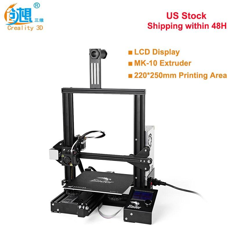 Original Creality3D Ender-3 haute précision 180 mm/S 0.4mm buse FDM 3D imprimante kit de bricolage en acier cadre LCD affichage US livraison gratuite