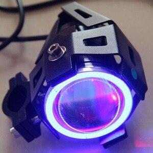 Image 3 - 125W Moto U7 Led Koplamp Spotlight Led Driving Auto Fog Werk Drl U5 Blauw Angel Eyes Waterdichte Motor hoofd Lamp
