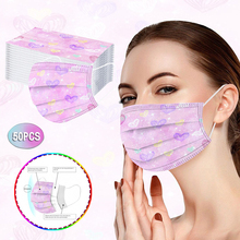 50/100Pcs Disposable Surgical Medical Mask Women Tie-Dye Mouth Masks Gradient Star Printed Three-Layer Dust-Proof Face Mask