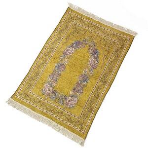 Image 1 - Ev taşınabilir hediyeler katlanır zarif yumuşak Anti kayma dekorasyon yatak odası çiçek halı diz çökmüş hafif seccade pamuk karışımı