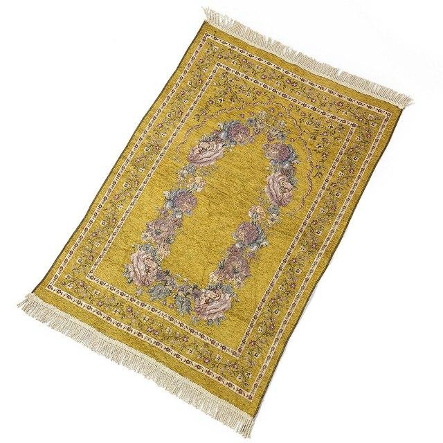 Home Portable Gifts Folding Exquisite Soft Anti Slip Decoration Bedroom Floral Rug Kneeling Light Weight Prayer Mat Cotton Blend