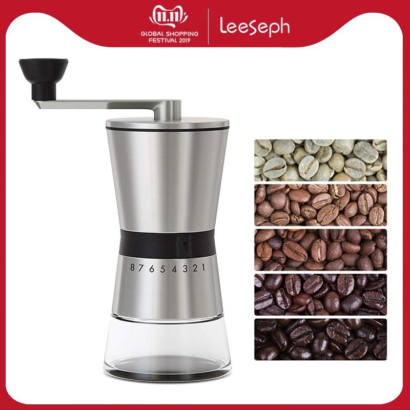 LEESEPH Precision Manual Coffee Grinders, 15 Adjustable Settings, Brushed 18/8 Stainless Steel