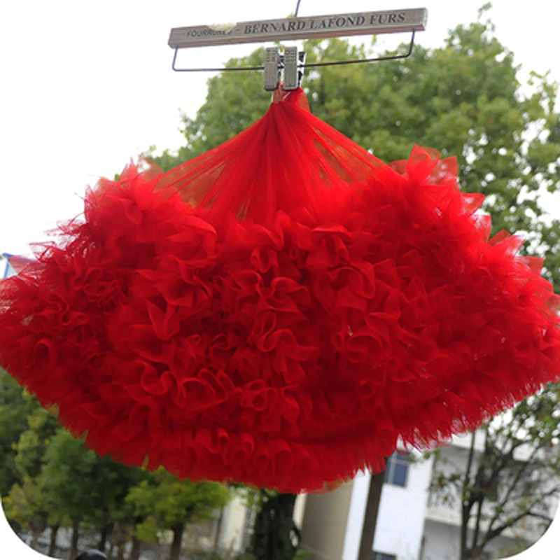 1Meter 28cm Wide White Red Pink Ruffled Tulle Trim 17 Color Pleated Mesh Lace trim tutu dress fabric DIY doll dress fabric(China)