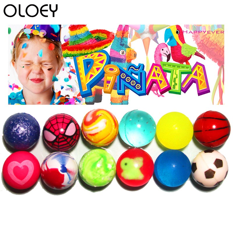 12Pcs 32mm Assorted High Bounce Rubber Ball Small Bouncy Ball Pinata Fillers Kids Toy Party Favor Bag Gifts Treat Bag Goody Bag