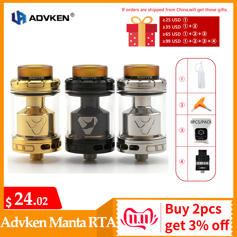 Original ADVKEN Manta RTA Atomizer 510 Thread Top Re-filling System Atomzier Tank Electronic Cigarette