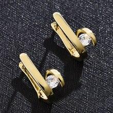 цена на 1 Pair Geometric Zircon Stone Golden Stud Earrings for Women Luxury Statement Elegant Hoop Earings Fashion Jewelry Accessories