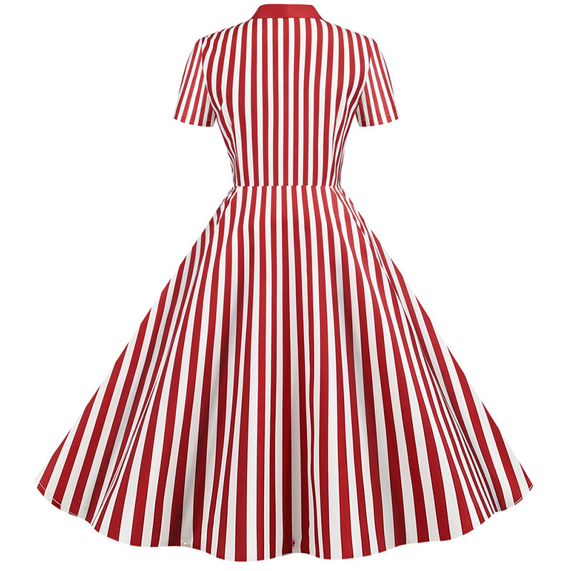 Summer Dress 2020 Women Elegant Vintage Short Sleeve Striped Print Bow Swing Party Office Pin up Dresses Casual Midi Plus Size 2