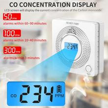 Alarm-Detector Gas-Sensor CO Poisoning Carbon-Monoxide Smoke LCD for Home 2-In-1 Displayer