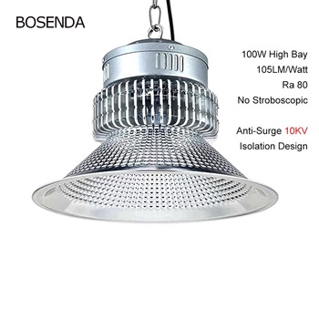цена на BSOD LED 100W High Bay Light Indoor Industrial Factory Lamp Bridgelux Lighting SELV 170-265V White For Workshop Garage Warehouse