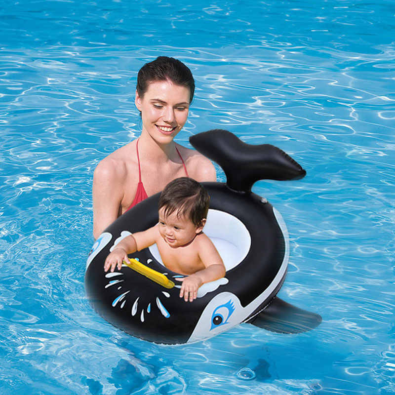 Casecover Inflatable Rubber Ring Whale Shaped Pool Float for Baby Swimming Ring Water Wheel Swimming Circle Pool