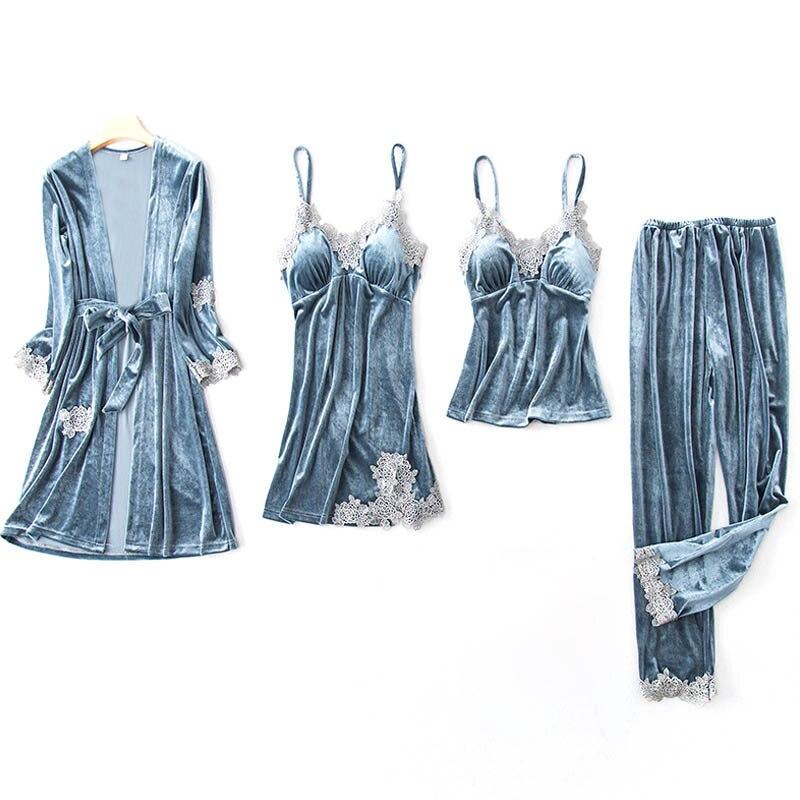 Women Robe & Gown Set Winter Warm Home Wear Sexy Lace Sleepwear 4 Pieces Gold Velvet Thickening Loungewear Long Sleeve Nightwear