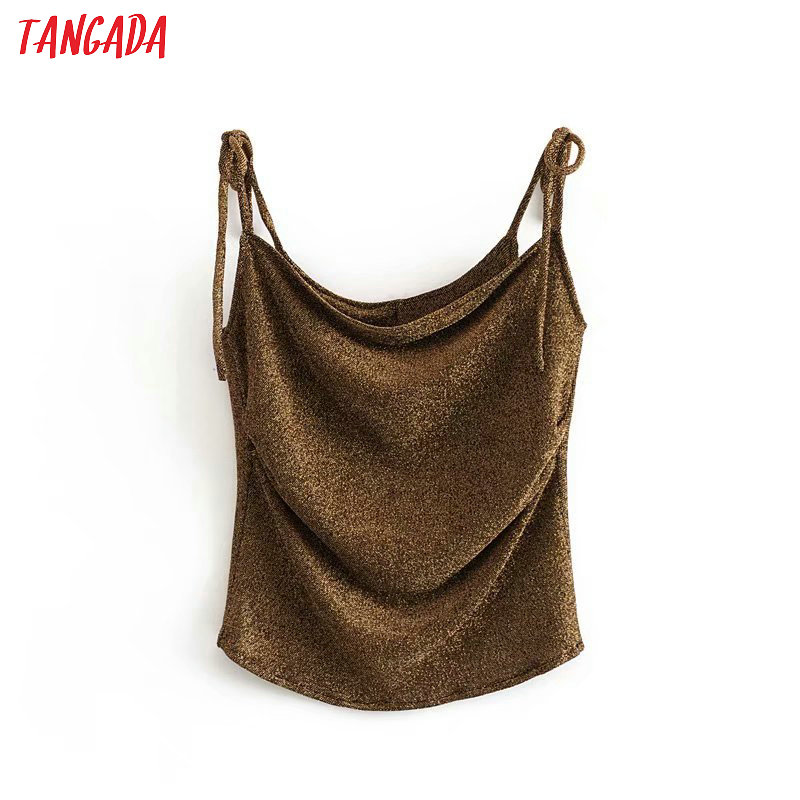 Tangada Women Golden Yarn Strethy Blouses Sleeveless Europe Style Spaghetti Strap Bow Tie Shirt For Summer Sexy Tops 3D19