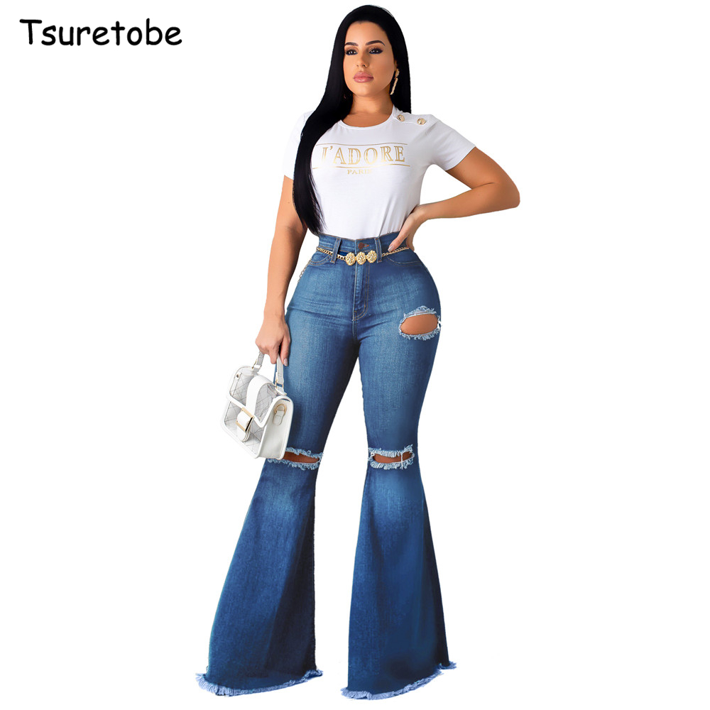 Tsuretobe Fashion Denim Ripped Flare Pants Women Vintage High Waist Flare Jeans Casual Bell-Bottoms Pant Boot Cut Trousers Femal