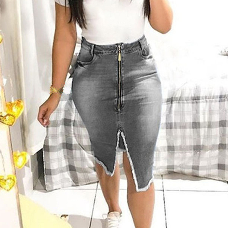 Women <font><b>Denim</b></font> <font><b>Skirts</b></font> Bandage Slit <font><b>Denim</b></font> Zipper Slim Tight Fashion Pure Color <font><b>High</b></font> <font><b>Waist</b></font> <font><b>Jean</b></font> <font><b>Skirt</b></font> Streetwear Sexy Knee <font><b>Skirt</b></font> Lady image