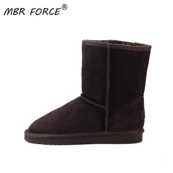 MBR FORCE Women's Boots Winter Warm leather suede winter snow boots for women real Mid-Calf Boots winter for Girl's warm shoes asumer new arrive youth fashion height increasing mid calf boots for women high quality pu soft leather winter warm snow boots