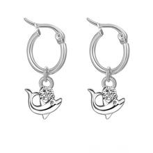 Hapiship 2021 New Fashion Stainless Steel Dolphin Notes. Pendant 15mm Round Hoop Earring For Women Men Everyday Jewelry DJ234