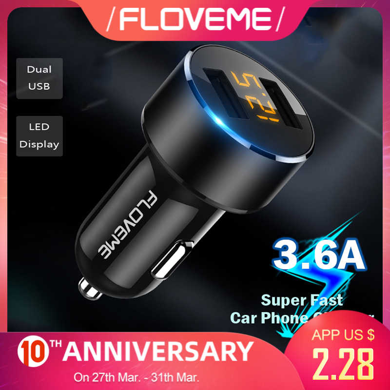 Floveme Mini Auto Telefoon Oplader Dual Usb Car Charger Voor Iphone 7 8 Plus 3.6A 2.4A Met Led Display Auto usb Mobiele Telefoon Oplader