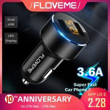 FLOVEME Mini Car Phone Charger Dual USB Car Charger
