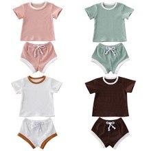 АА 2020 случайные летом новорожденного малыша новорожденных девочек мальчиков с коротким рукавом сплошной цвет футболки топы+шорты 2шт костюмы установить