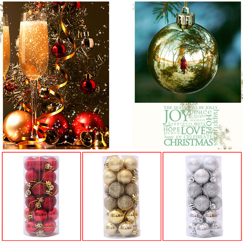 24 XMAS TREE BAUBLES HANGING DECORATION 40mm SHINY GLITTER SILVER CHAMPAGNE GOLD
